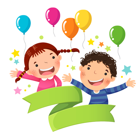 Cute boy and girl with balloon and blank ribbon 免版税图像 - 70739142