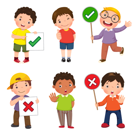Set of boys holding and doing right and wrong signs Vectores