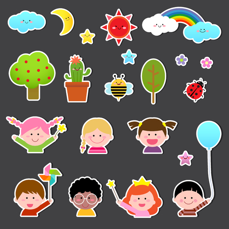 infant baby: Set of kids and cute nature element