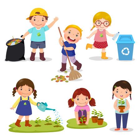 Ensemble de bénévoles enfants mignons. Sauver la Terre. Le recyclage des déchets. Les filles ont planté et arrosent de jeunes arbres. Les enfants regroupent des ordures et des déchets plastiques pour le recyclage.