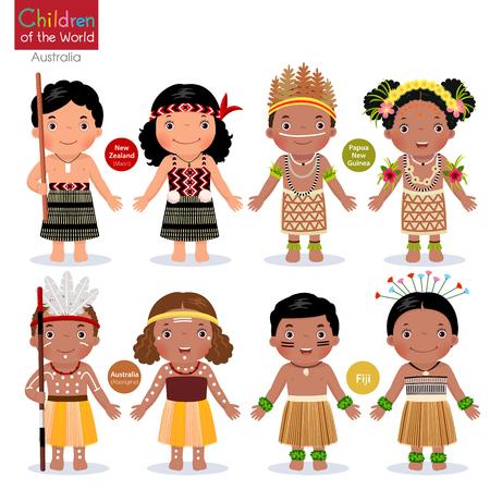 Kinderen in verschillende traditionele kostuums. Nieuw-Zeeland, Papoea-Nieuw-Guinea, Australië, Fiji.