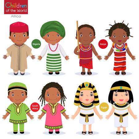 Crianças em diferentes trajes tradicionais. Nigéria, Quênia, África do Sul, Egito.