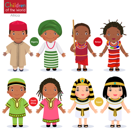 Kids in different traditional costumes. Nigeria, Kenya, South Africa, Egypt. Stock Illustratie