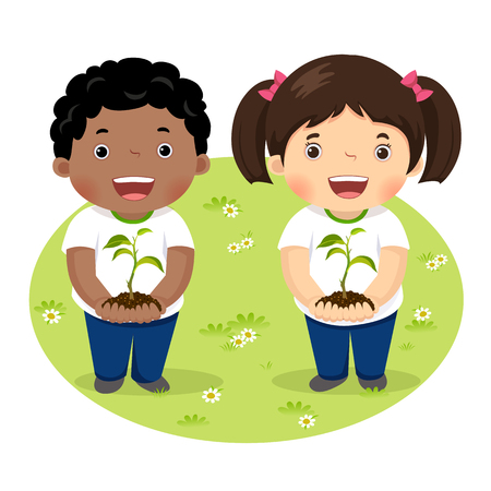 Kids holding young plant Vectores