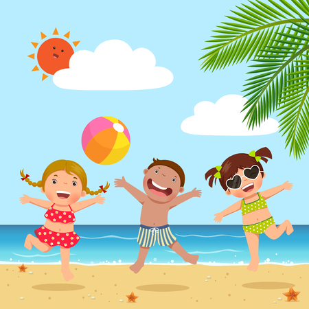 Happy kids jumping on the beach