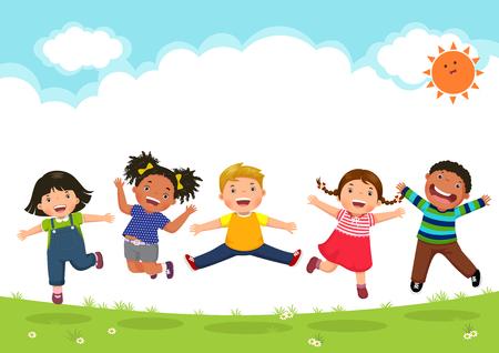 Gelukkige kinderen springen samen tijdens een zonnige dag