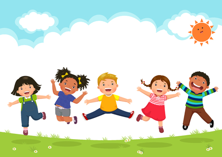 Happy kids jumping together during a sunny day Ilustração
