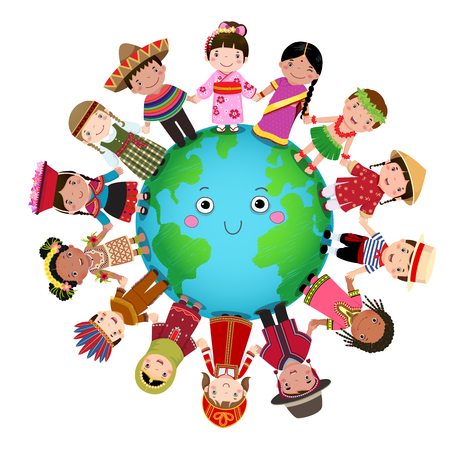 Multicultural children holding hand around the world