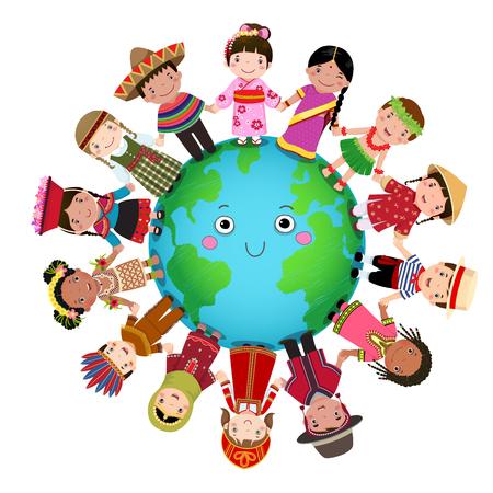 Multicultural children holding hand around the world