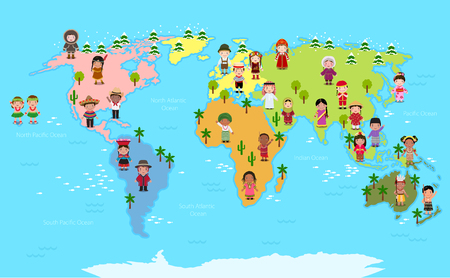 World map and kids of various nationalities 免版税图像 - 79331541