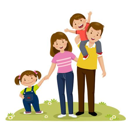 함께 포즈를 취하는 4 명의 멤버 행복 한 가족 초상화입니다. 아이들과 함께있는 부모들