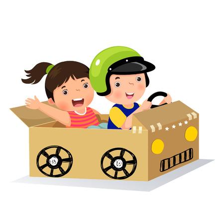 Chłopiec i dziewczynka jazdy samochodem z kartonu Ilustracje wektorowe