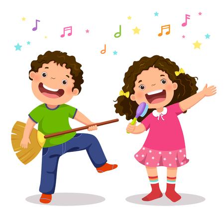 Chico creativo tocando la guitarra virtual con escoba y chica cantando con cepillo de pelo Foto de archivo - 80107985