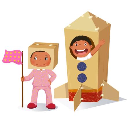 우주 비행사와 로켓에서 소년으로 재생 크리 에이 티브 소녀 만든 골 판지 상자