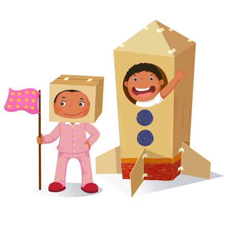 Creative girl playing as astronaut and boy in rocket made of cardboard box Stok Fotoğraf - 80107989