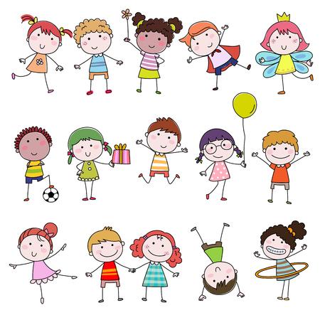 Set of cute happy cartoon doodle kids. Hand-drawn children