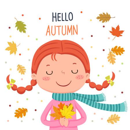 A Vector illustration of girl holding autumn leaves. Hello autumn illustration