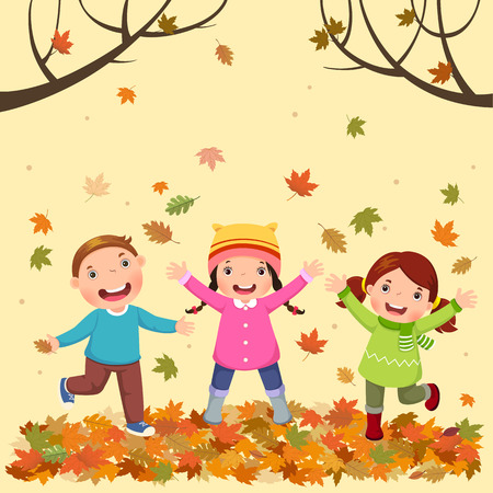 A Vector illustration of kids playing outdoors in autumn Vectores