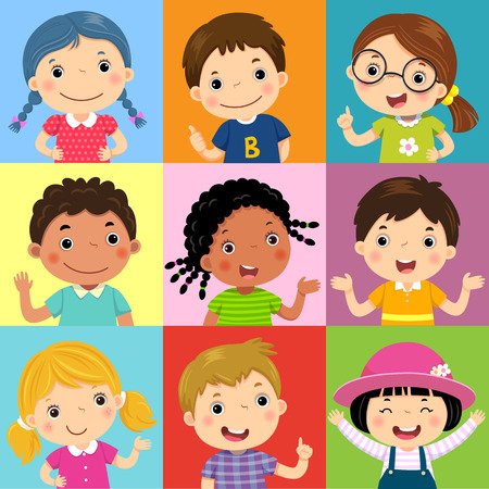 Vector illustration set of different kids with various postures Иллюстрация