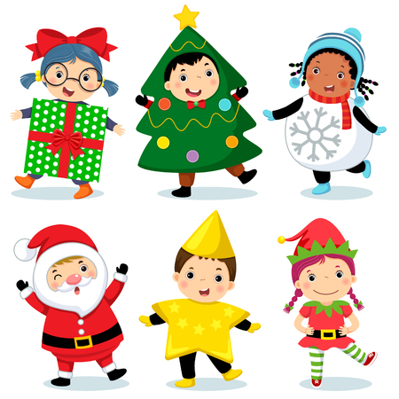 Vector illustration of cute kids wearing Christmas costumes Vectores