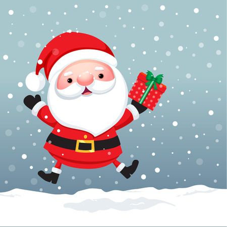 Vector illustration of Santa Claus Cartoon character for Christmas cards and banners Çizim