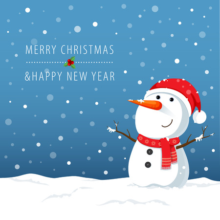Vector illustration of snowman cartoon character for Christmas cards and banners