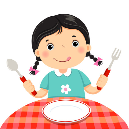 Cute girl holding a spoon and fork with empty white plate on white background