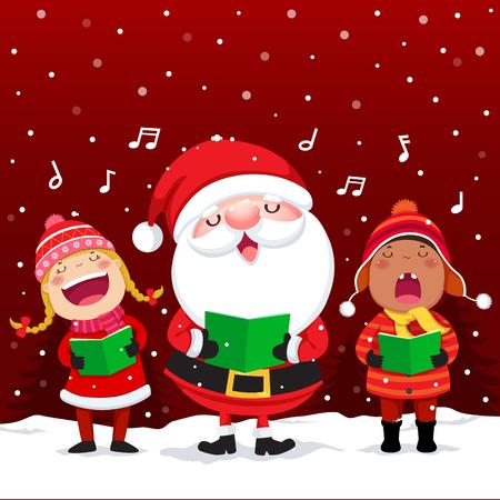 Vector illustration of happy kids with Santa Claus singing Christmas Carols