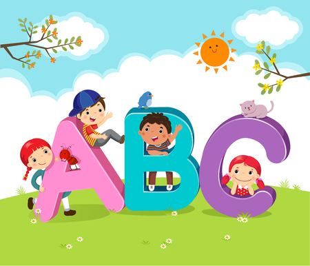 Cartoon kids with ABC letters