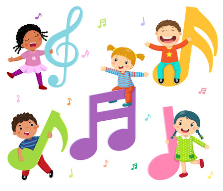 Cartoon kids with music notes Çizim