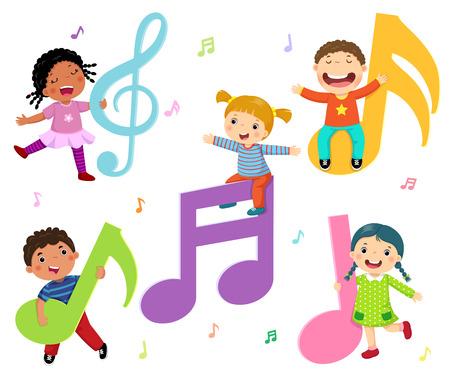 Enfants de bande dessinée avec des notes de musique Banque d'images - 91666562