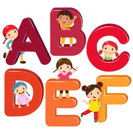 Cartoon kinderen met ABCDEF letters
