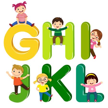 Cartoon kids with GHIJKL letters Stock Illustratie