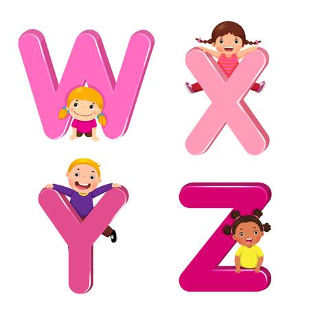 Cartoon kids with WXYZ letters Çizim