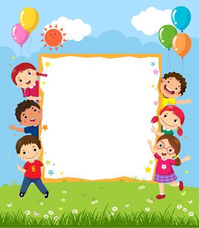 Happy smiling group of kids showing blank board Çizim