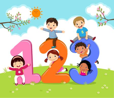 Cartoon kids with 123 numbers