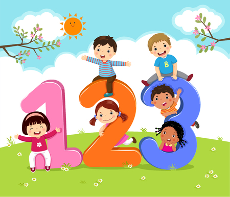 Cartoon kids with 123 numbers