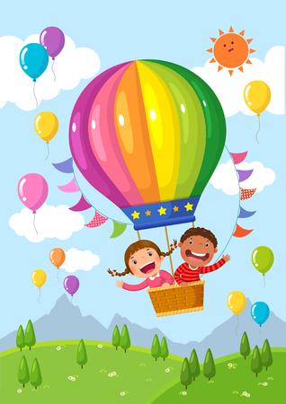 Cartoon kids riding a hot air balloon over the field