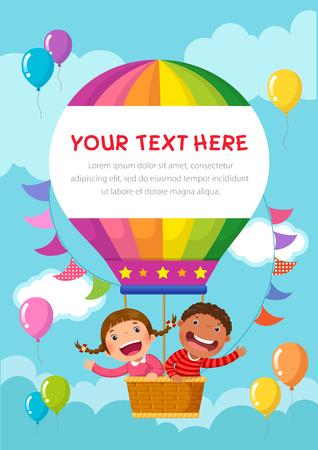 Cartoon kids riding a hot air balloon with text space