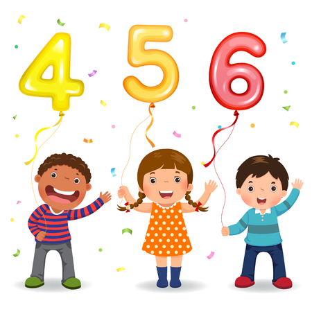 Cartoon kids holding number 456 shaped balloons