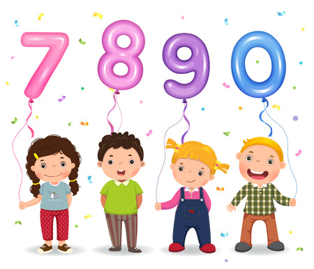 Cartoon kids holding number 7890 shaped balloons