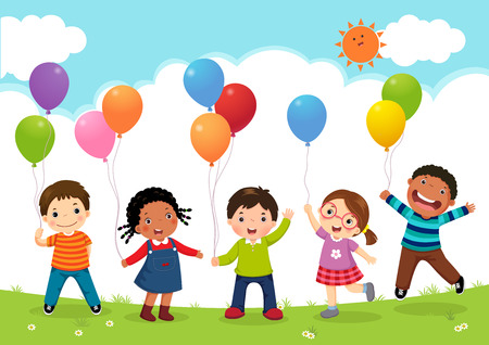 Happy kids jumping together and holding balloons Çizim