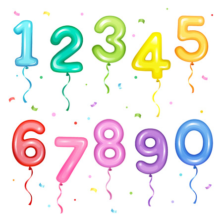 Vector illustration set of colorful number shaped balloons for birthday party decoration elements Stock Illustratie