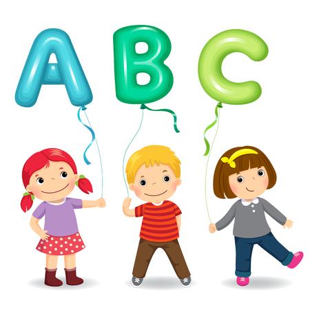 Cartoon kids holding letter ABC shaped balloons Çizim