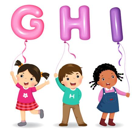 Cartoon kids holding letter GHI shaped balloons Çizim