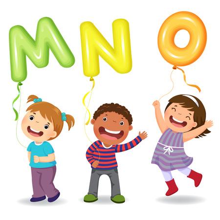Cartoon kids holding letter MNO shaped balloons Çizim