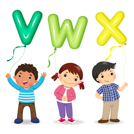 Cartoon kids holding letter VWX shaped balloons
