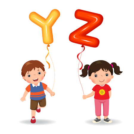 Cartoon kids holding letter YZ shaped balloons