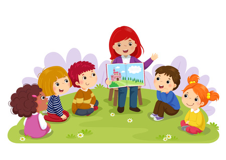 Teacher telling a story to nursery children in the garden Stock Vector - 93876714