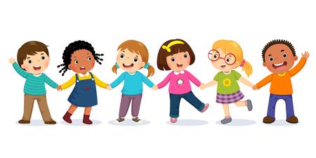 Grupa szczęśliwych dzieci trzymając się za ręce. Pojęcie przyjaźni